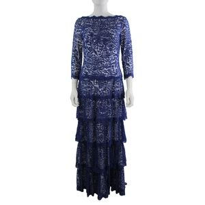 Tadashi Shoji Lace 3/4 Sleeves Full Length Dress